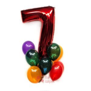 Композиция на день рождения из прозрачных шаров с красной цифрой