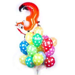 Композиция из шаров в точку с цифрой в виде животного