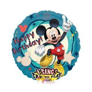 Поющий фольгированный шар Микки Маус