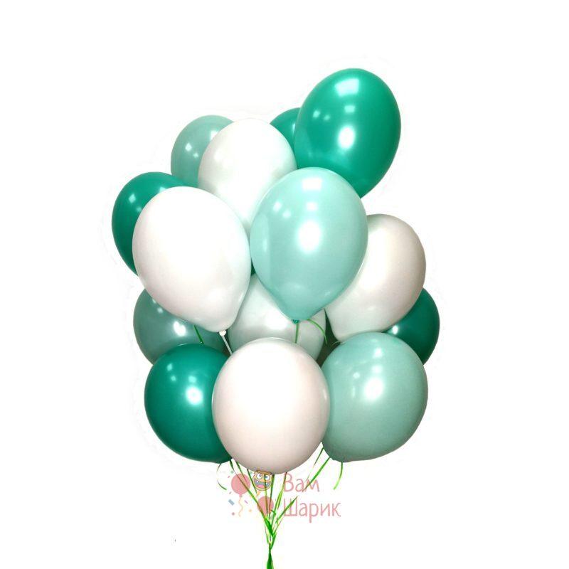 Воздушные белые мятные и нежно мятные шары