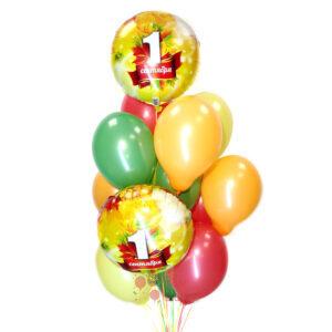 Композиция из разноцветных и фольгированный шаров на 1 сентября