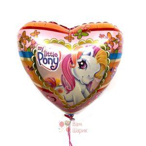 Фольгированное сердце My little pony