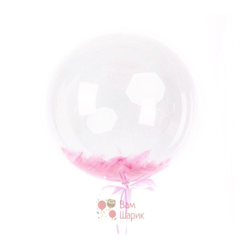 Кристальный шар Bubbles с розовыми перьями