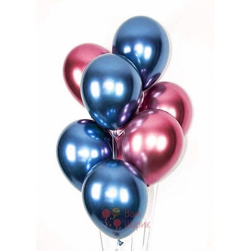Облако синих и розовых хромированных шаров