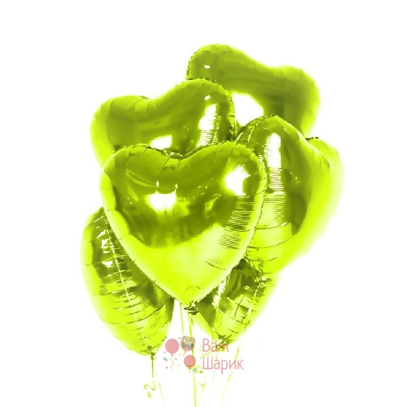 Фольгированные салатовые сердца