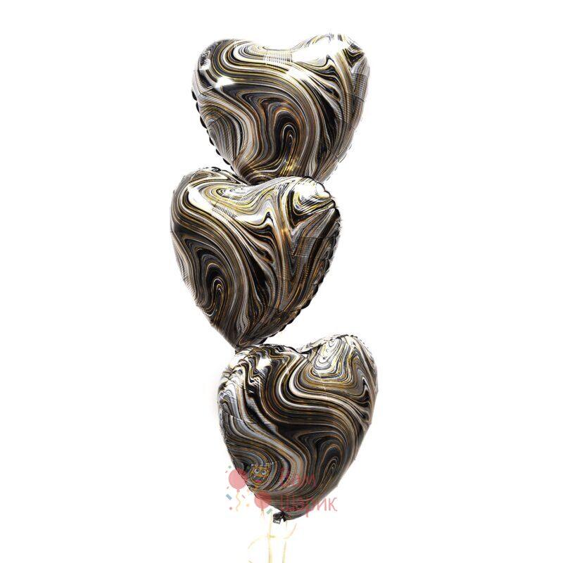 Фольгированные сердца черные агаты 1 шт