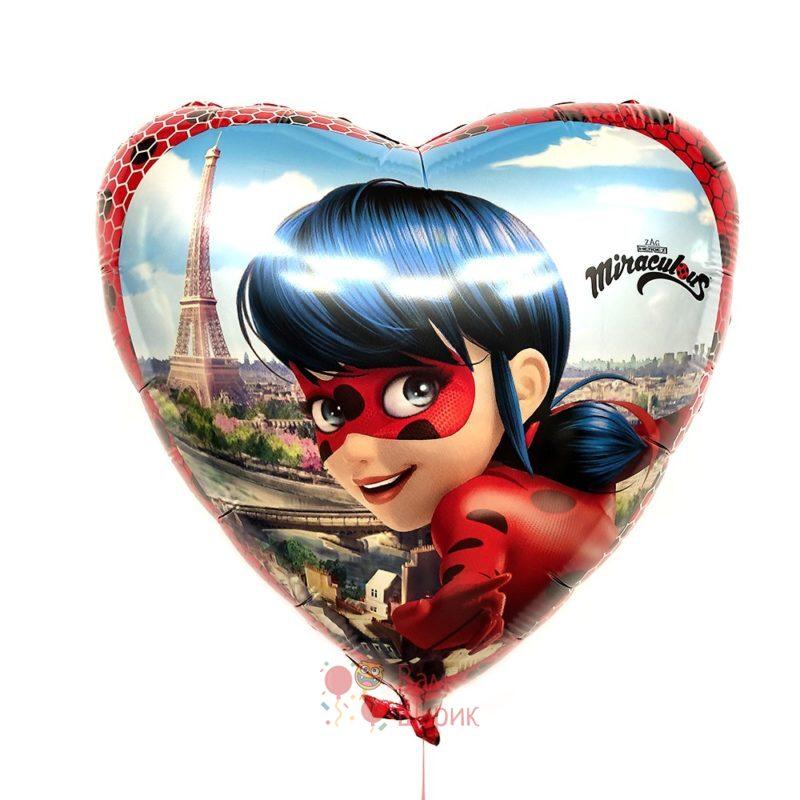 Фольгированное сердце Леди Баг