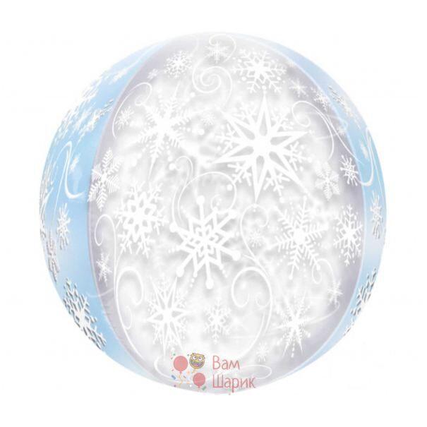 Кристальный шар сфера со снежинками