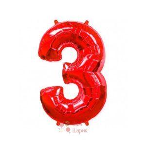 Шар цифра 3 красная