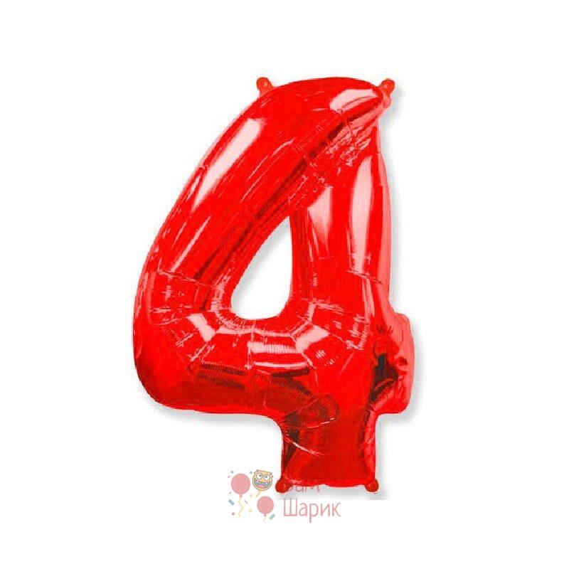 Шар цифра 4 красная