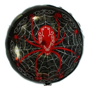 Фольгированный шар Happy Halloween с красным пауком