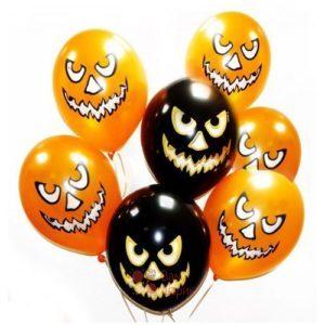 Облако черных и оранжевых шаров с тыквами