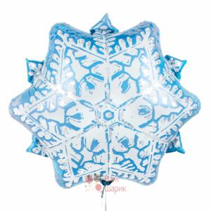 Фольгированная фигура снежинка голубая
