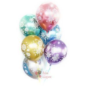 Разноцветные шары снежинки хром