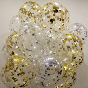 Прозрачные шары с серебряными и золотыми конфетти