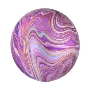 Фольгированная мраморная сфера розовая