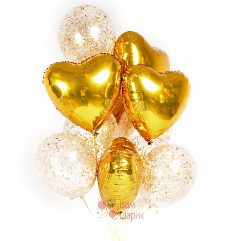 Композиция из гелиевых шаров золотых сердец и прозрачных шаров с золотыми блёстками