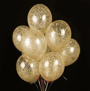 Облако прозрачных шаров с золотыми блестками