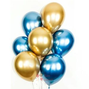 Облако синих и золотых хромированных шаров