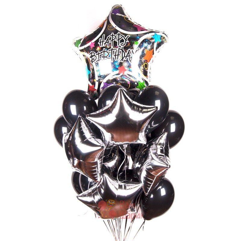 Композиция из гелиевых черных шаров на день рождения со звездами с большой звездой Happy Birthday!
